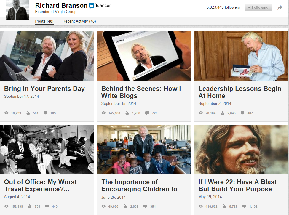 Richard Branson, The LinkedIn Influencer.