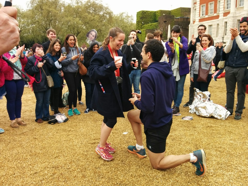 Marriage proposal London Marathon 2015.