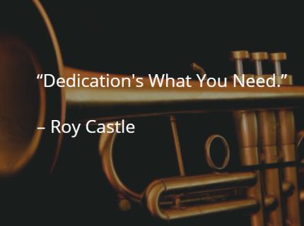 Roy Castle trumpet dedication running.