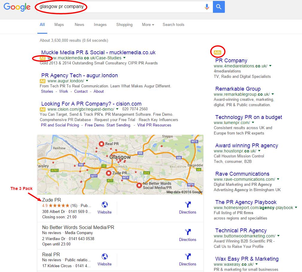 Glasgow PR company Google Search Zude PR.