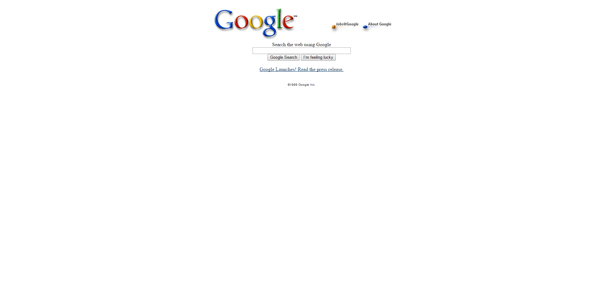 Google homepage 12 October 1999 different weird post.